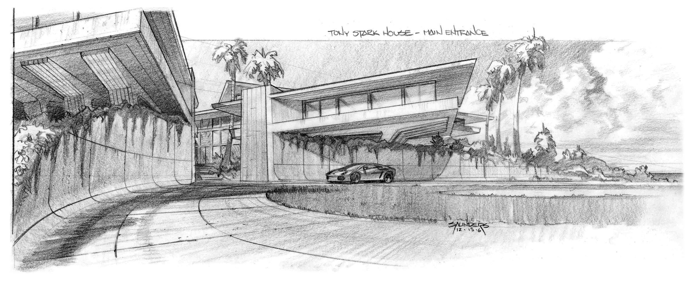 Artstation Iron Man 2007 Stark Mansion Exterior Concepts Phil Saunders
