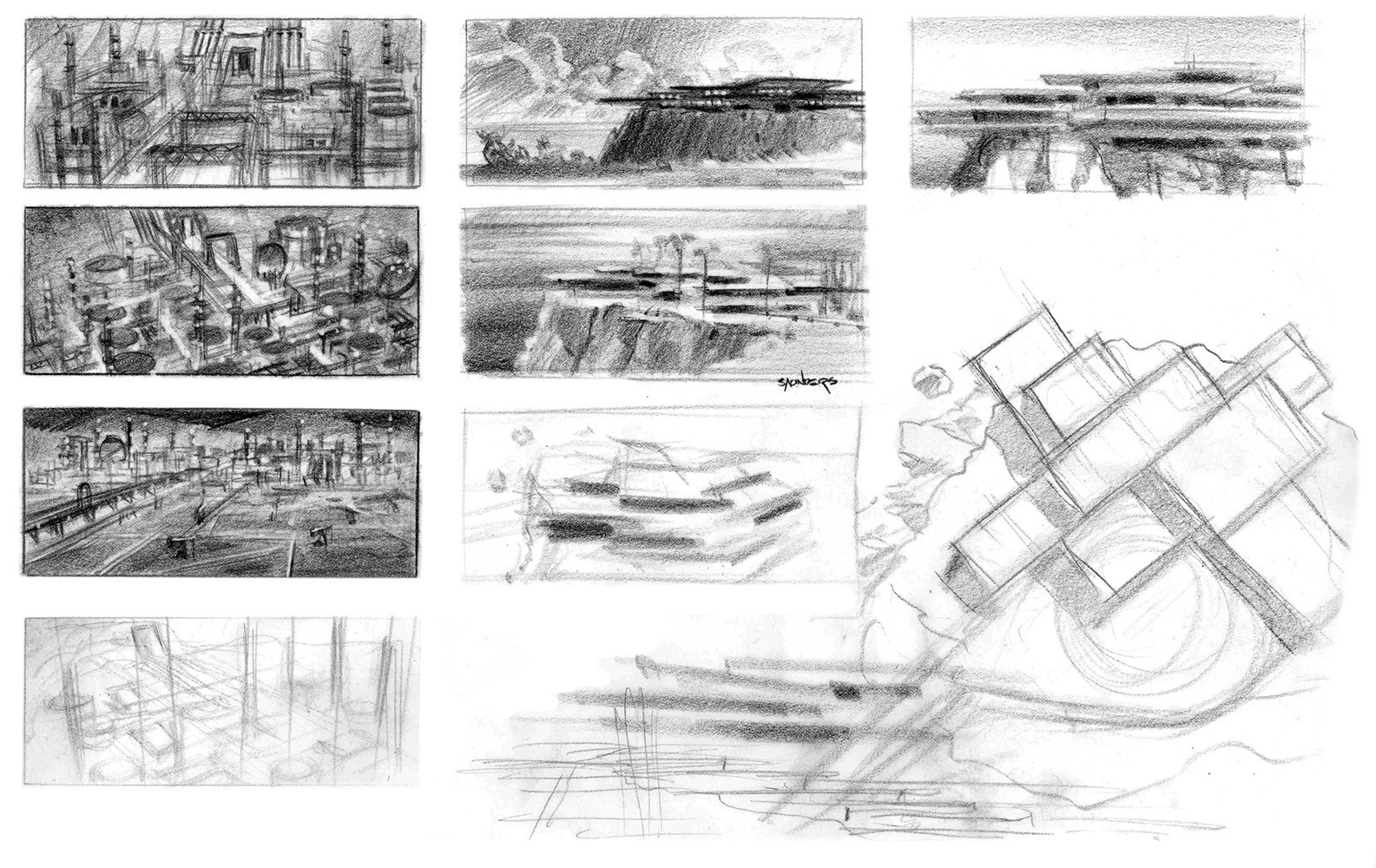 More layout sketches of the house, establishing mood and feel. Note also sketches for the Khan refinery assault scene that was ultimately cut from the climax of the movie.