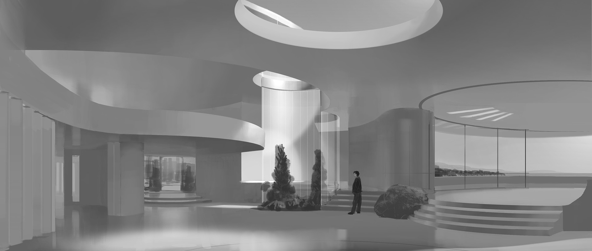 Early work-in-progress to show how I work out architectural forms with values and lighting.