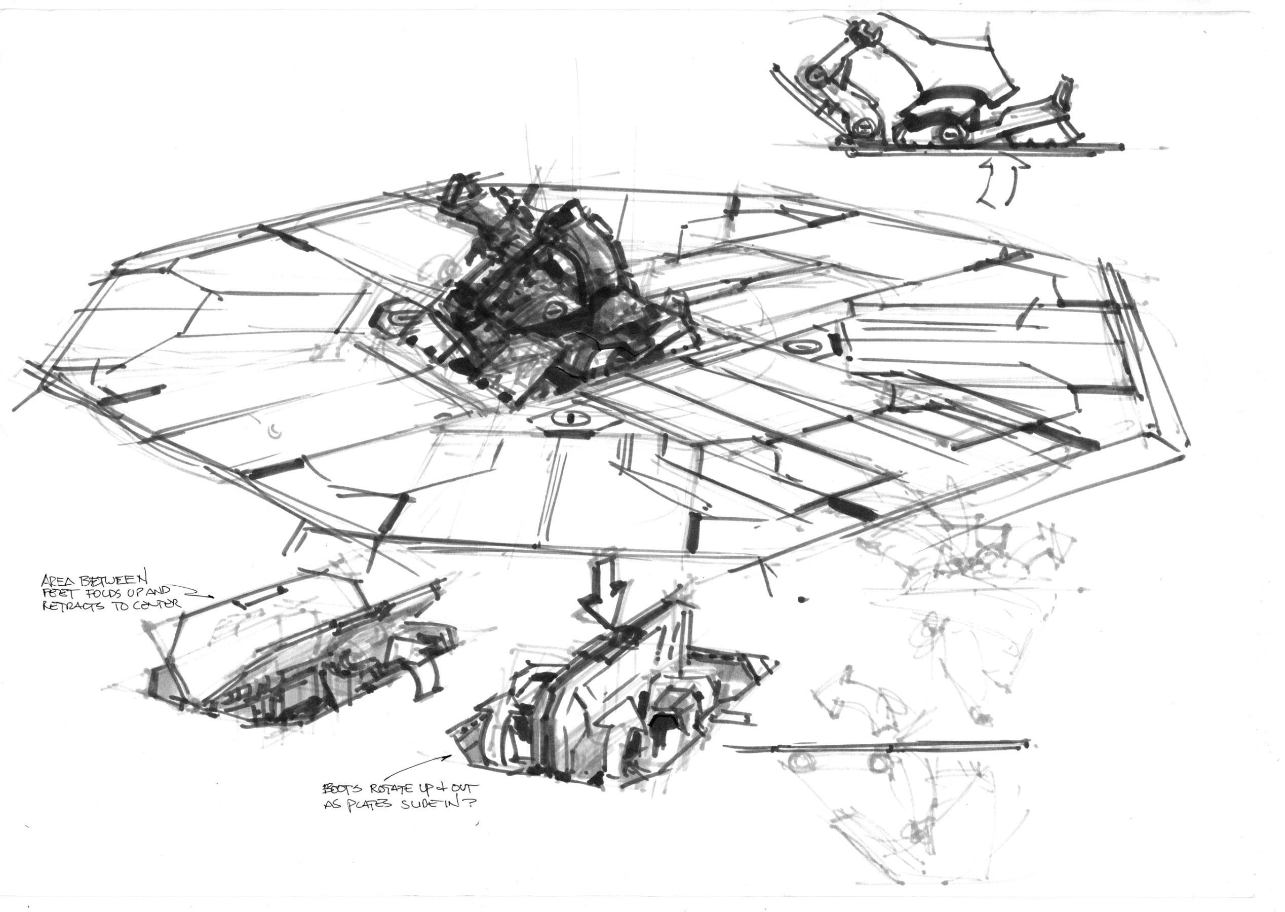 Concept sketch of the floor panel break-up (Marker)
