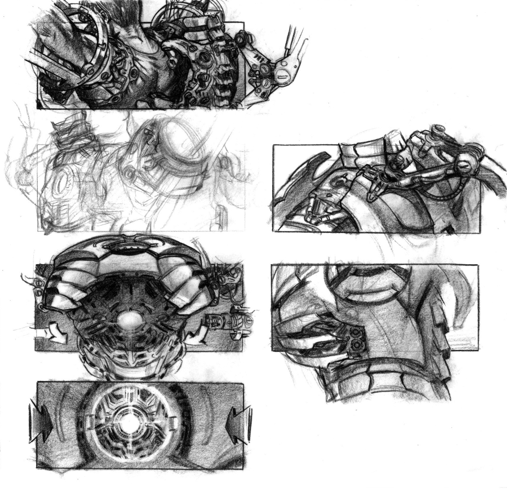 Suiting-up storyboards showing potential key shots in the suit-up sequence.(Pencil on vellum)
