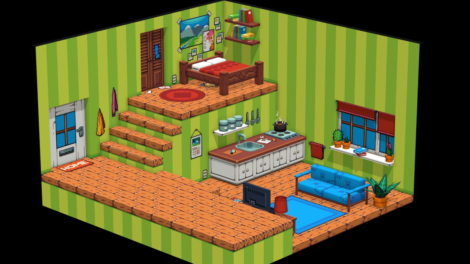artstation 3d pixel art isometric room rens pitman