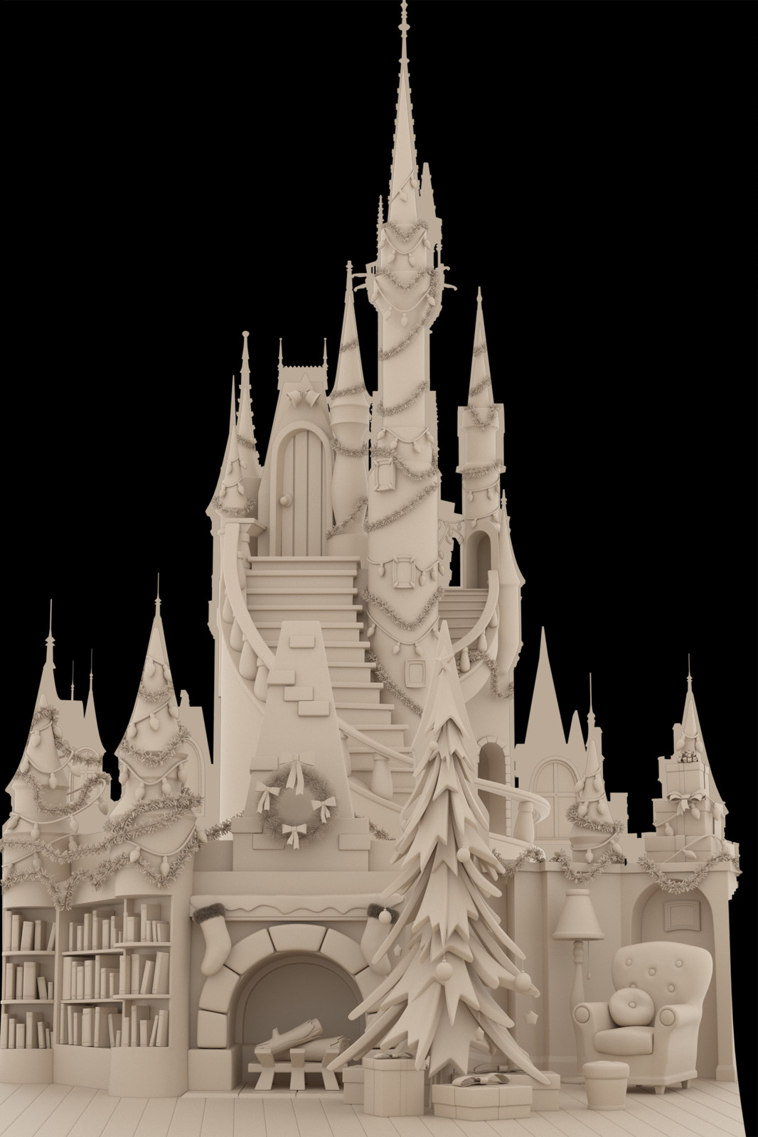 This was a quick pitch concept for the project, the interior of Mickey's house.