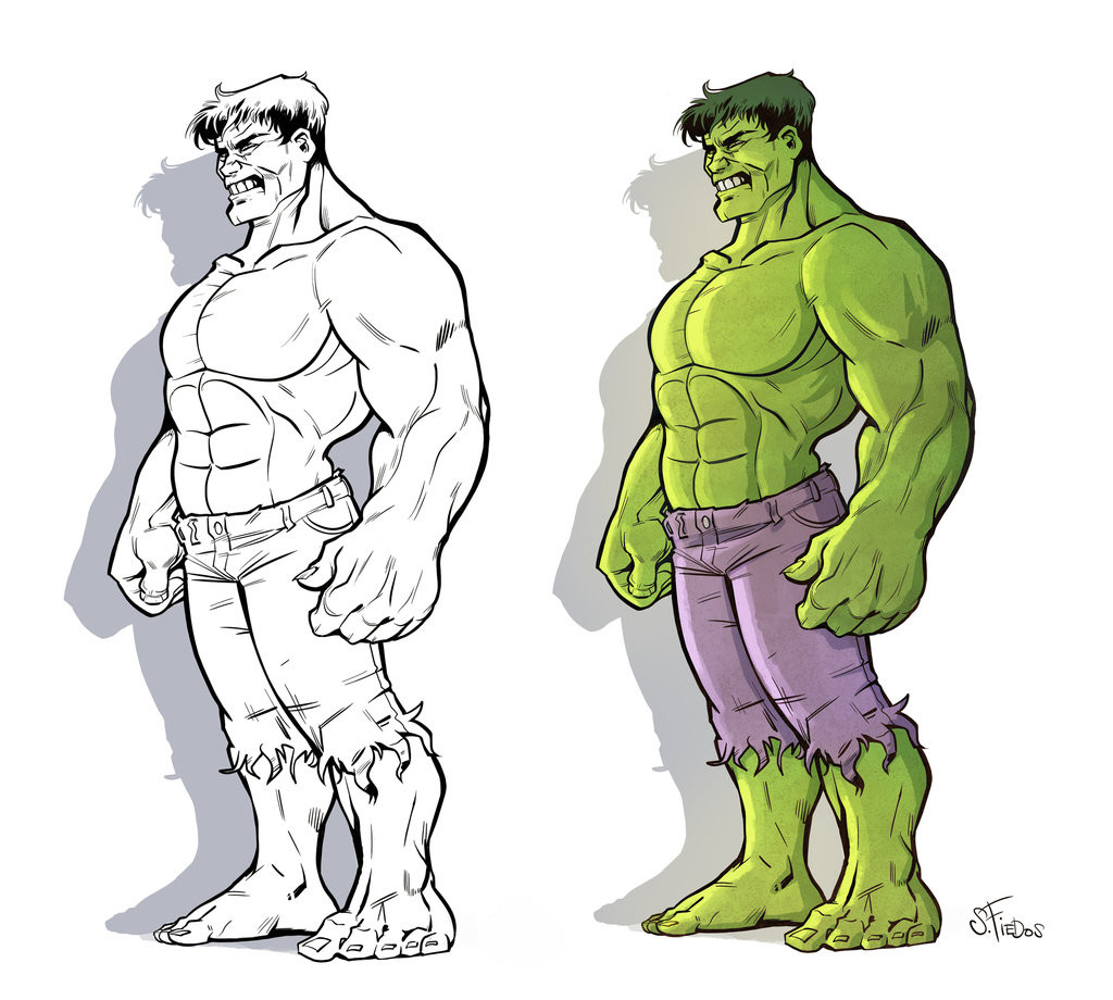 Serge fiedos hulk fullbody lineart and color by serge fiedos