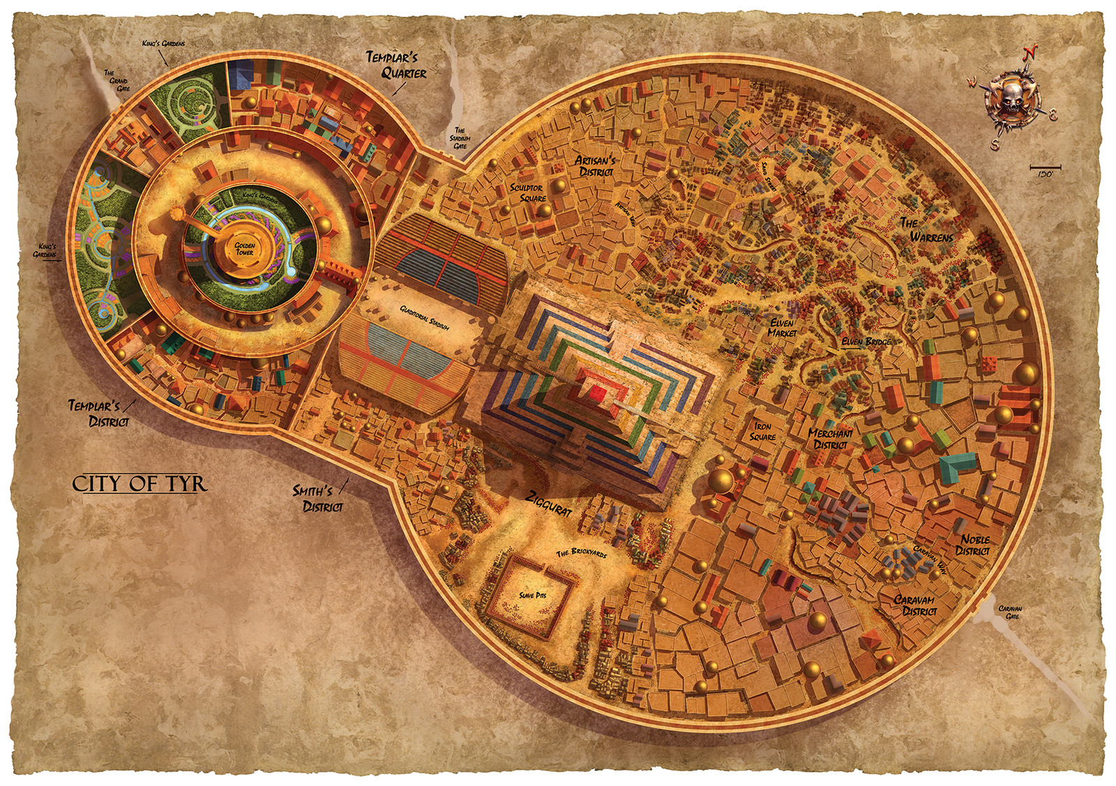 "Dark Sun poster map (side 2), ""City of Tyr"""