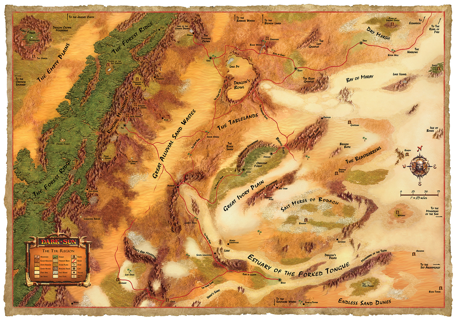 "Dark Sun poster map (side 1), ""Tyr Region"""