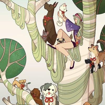 Jessica madorran character design year of the dog tree 2018 artstation