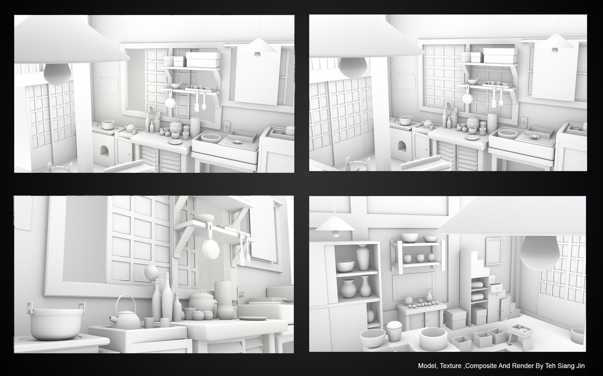 Siang Jin - 3D Modeling _ Japanese Kitchen Environment
