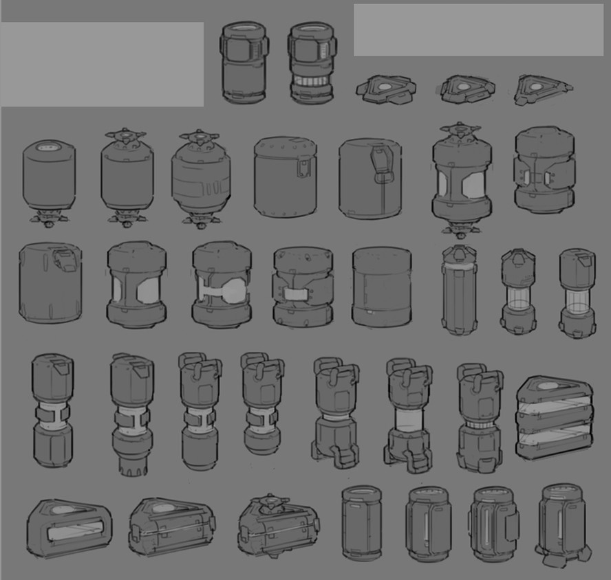 Various powerup concepts. We ended up going with the one that looked like a soda can and a slice of cake.