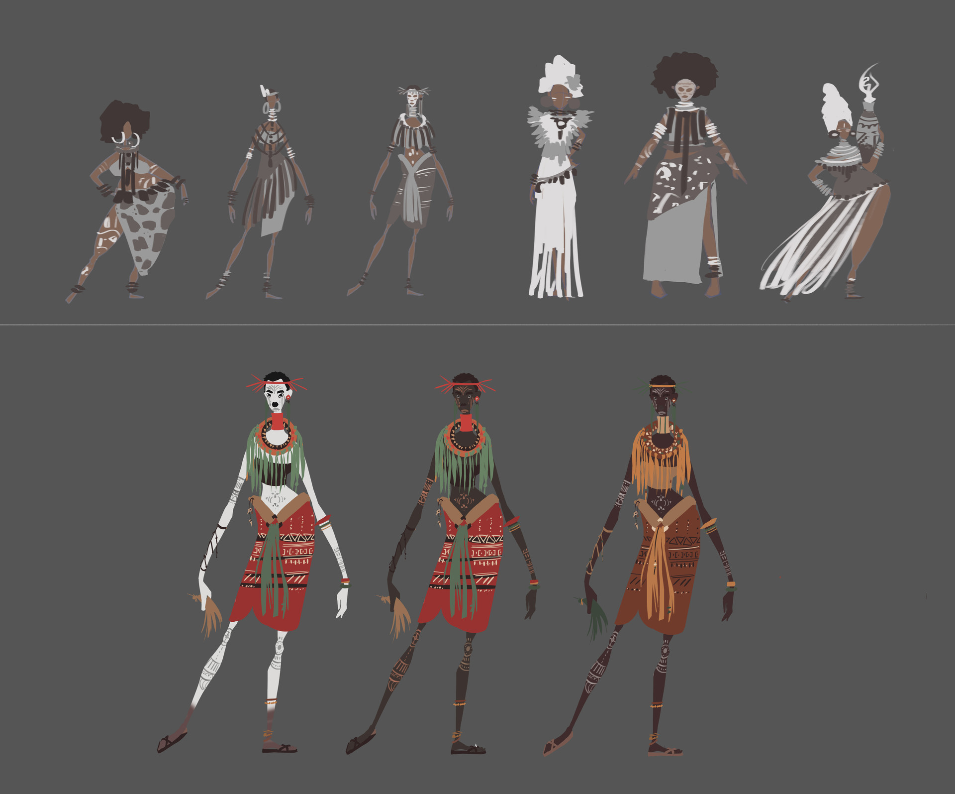 Stages of character development. Search for shapes and colors