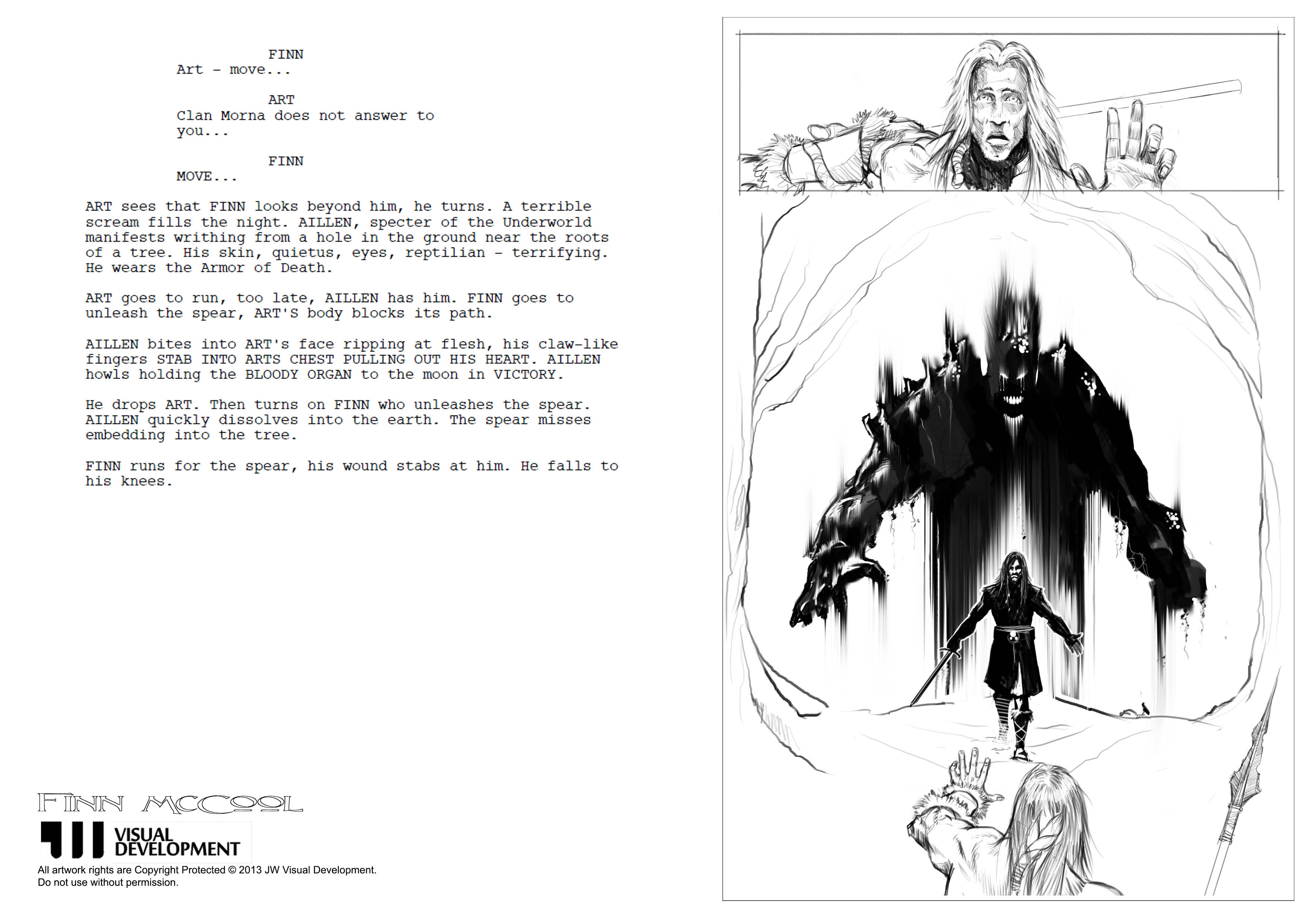 Rough Sketch layout with script by Chris Brosnan.