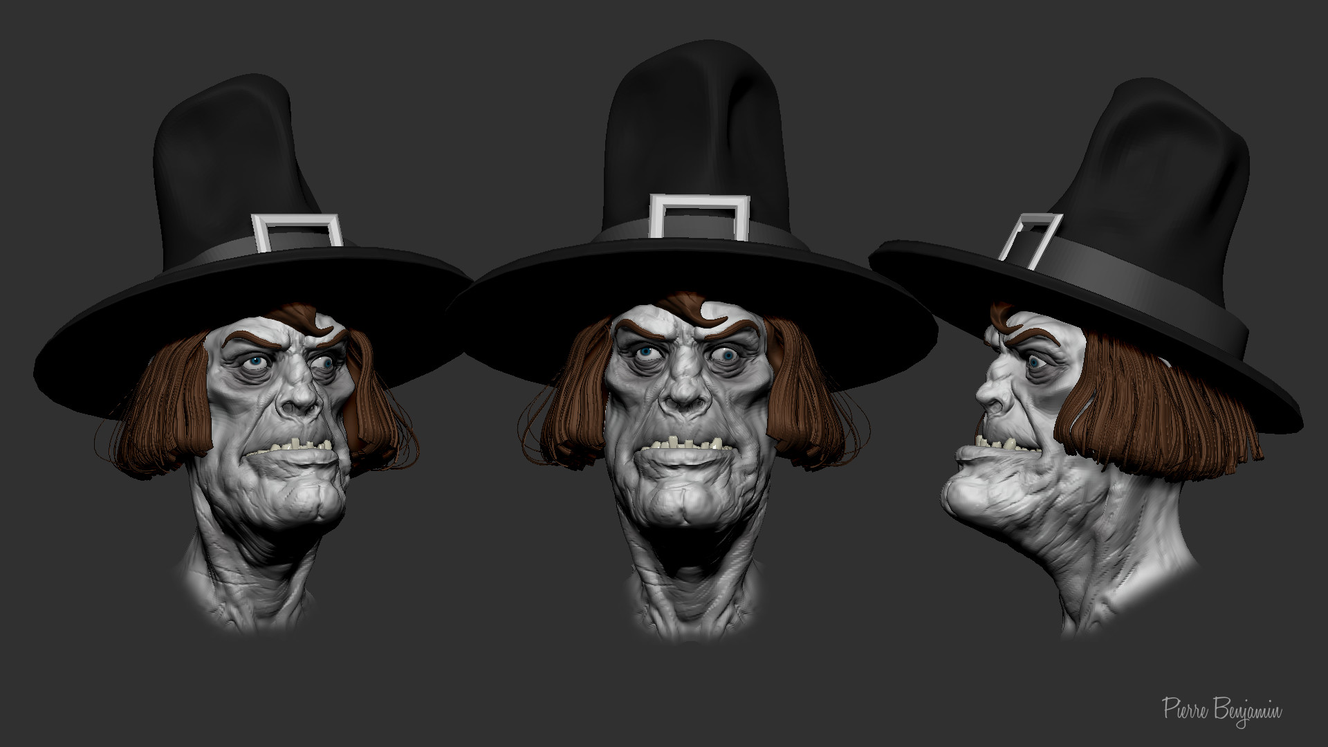 Pierre benjamin zombie with hat sculpt