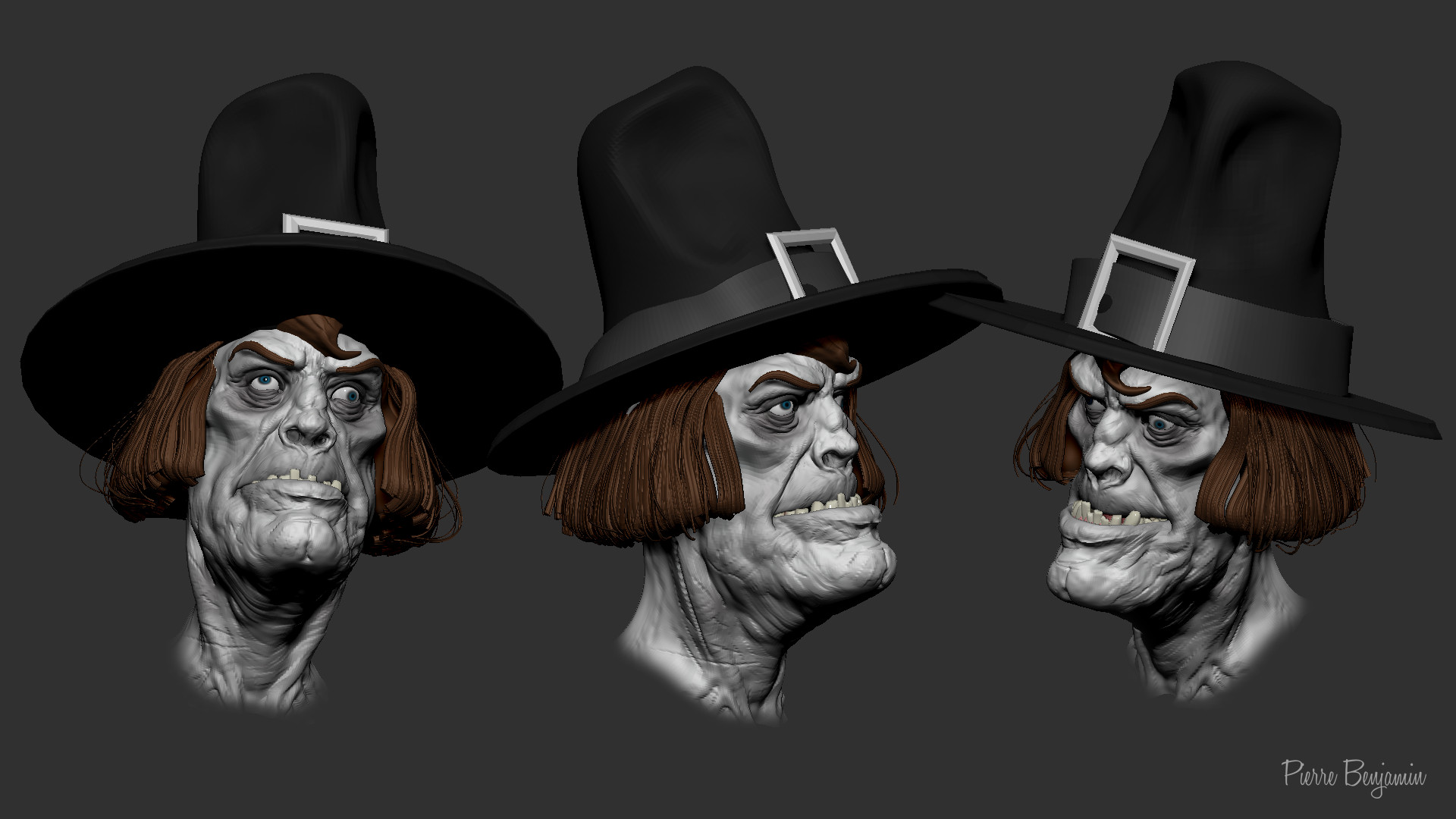 Pierre benjamin zombie with hat sculpt0023