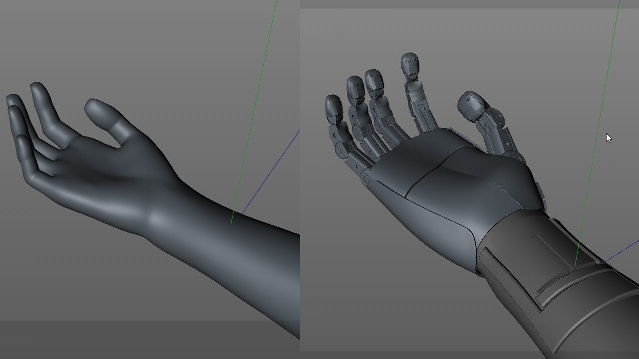 The hand reference of Daz Studio vs the final model of the hand