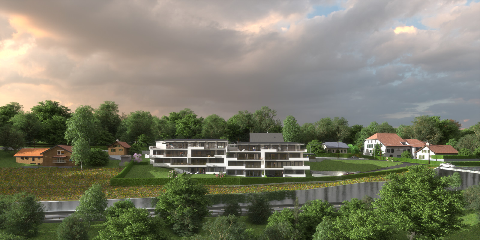 SketchUp 2018 + Thea Render  Project Lutry Thea Full work file 05 No Fog 2018-Scene 124 2 pt layers 207 hdr  HDR by HDRI-SKIES found here: http://hdri-skies.com/shop/hdri-sky-207/