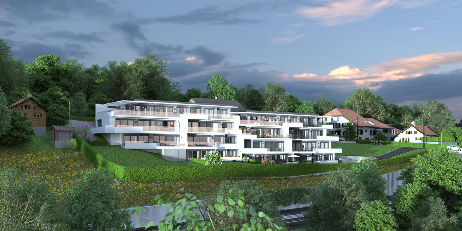 SketchUp 2018 + Thea Render  Project Lutry Thea Full work file 05 No Fog 2018 2-Scene 128 2pt 252 hdr 02  HDR by HDRI-SKIES found here: http://hdri-skies.com/shop/hdri-sky-252/