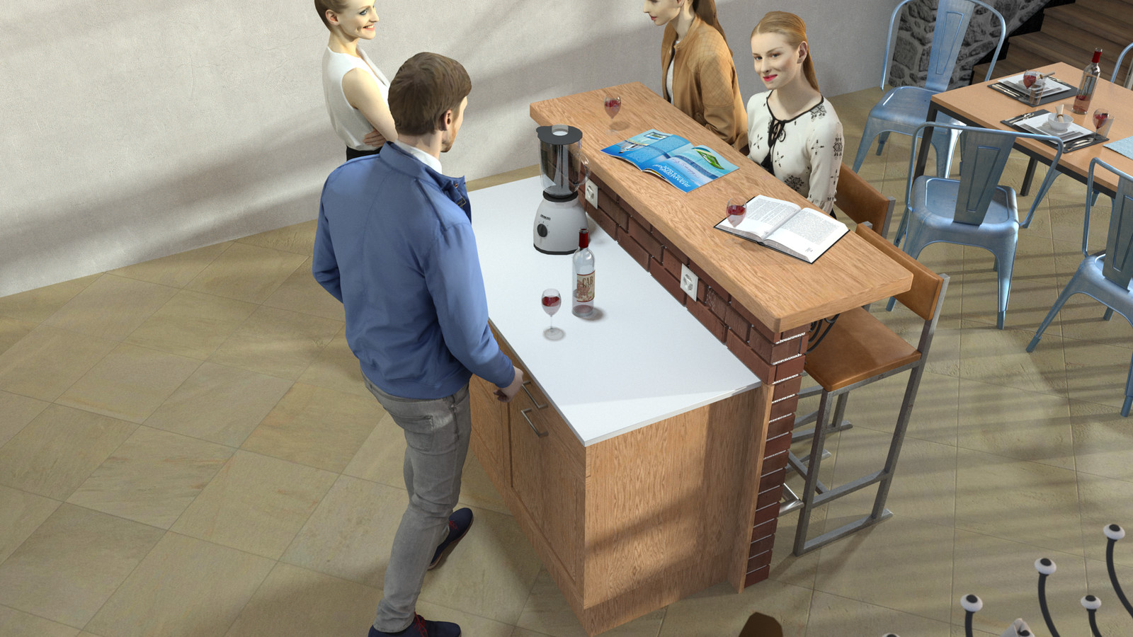 SketchUp + Thea Render  Rivendell Mill's Kitchen Bar Rivendell Brick Bar 2017-Scene 014  The 3d people are from AXYZ design collections found here: Collection 30 : http://bit.ly/2kS8pHx Collection 31 : http://bit.ly/2lJSkFu