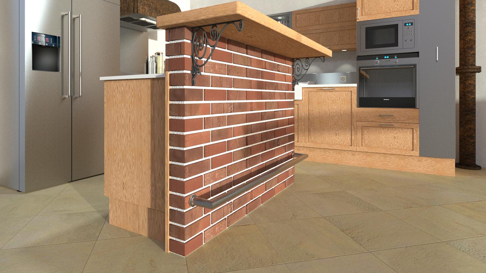 SketchUp + Thea Render  Rivendell Mill's Kitchen Bar Rivendell Brick Bar 2017-Scene 05