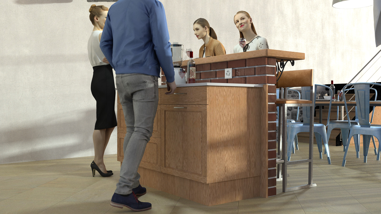 SketchUp + Thea Render  Rivendell Mill's Kitchen Bar Rivendell Brick Bar 2017-Scene 010  The 3d people are from AXYZ design collections found here: Collection 30 : http://bit.ly/2kS8pHx Collection 31 : http://bit.ly/2lJSkFu