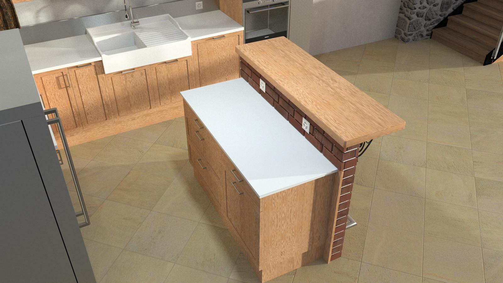 SketchUp + Thea Render  Rivendell Mill's Kitchen Bar Rivendell Brick Bar 2017-Scene 013