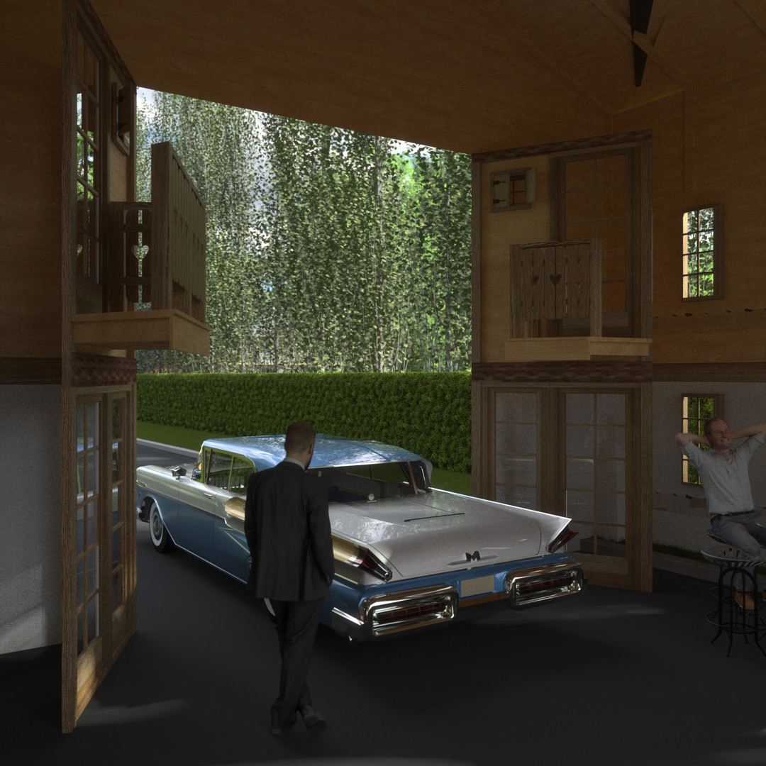 SketchUp 2018 + Thea Render  La Grange work-Scene 61 2pt Doors open Maxi sized Traditional Swiss Chalet Event Build  HDR by HDRI-SKIES found here: http://hdri-skies.com/shop/hdri-sky-208/
