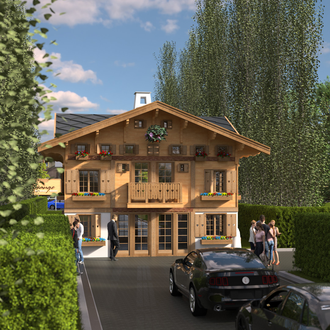 SketchUp 2018 + Thea Render  La Grange work-Scene 58 2pt Maxi sized Traditional Swiss Chalet Event Build  HDR by HDRI-SKIES found here: http://hdri-skies.com/shop/hdri-sky-208/