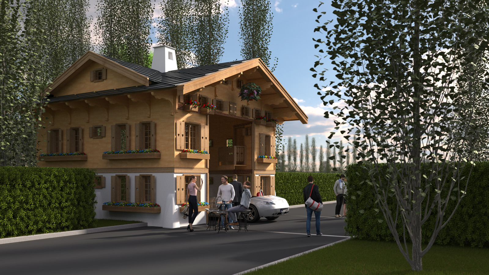 SketchUp 2018 + Thea Render  La Grange work-Scene 59 2pt Doors open Maxi sized Traditional Swiss Chalet Event Build  HDR by HDRI-SKIES found here: http://hdri-skies.com/shop/hdri-sky-208/