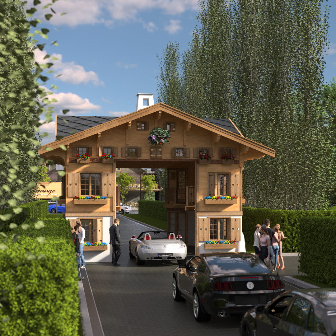 SketchUp 2018 + Thea Render  La Grange work-Scene 58 2pt Doors open Maxi sized Traditional Swiss Chalet Event Build  HDR by HDRI-SKIES found here: http://hdri-skies.com/shop/hdri-sky-208/