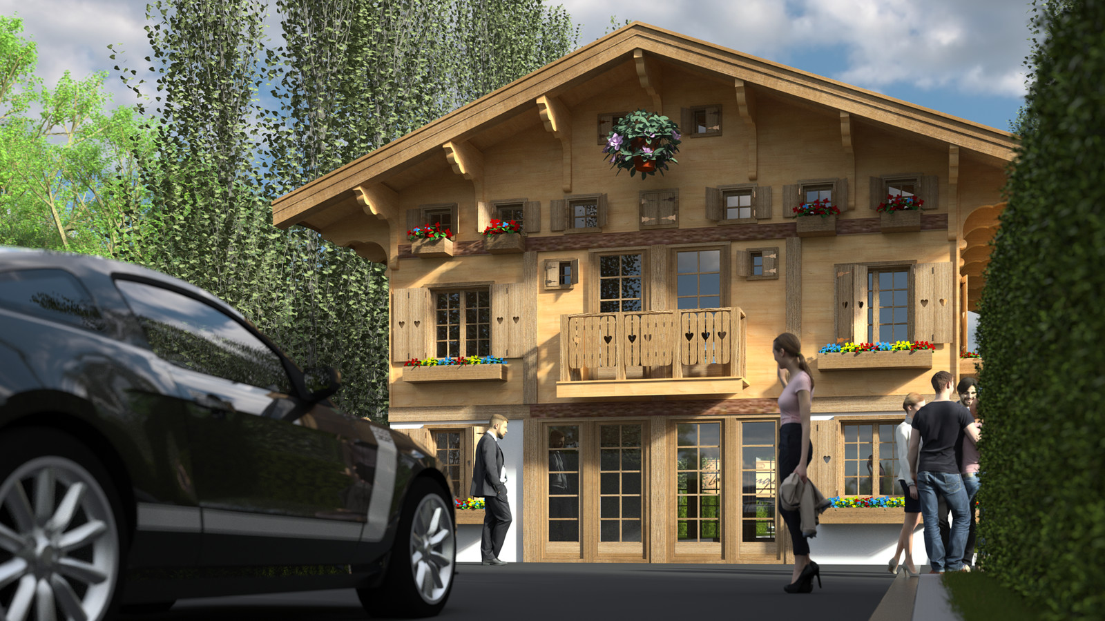 SketchUp 2018 + Thea Render  La Grange work-Scene 60 2pt Maxi sized Traditional Swiss Chalet Event Build  HDR by HDRI-SKIES found here: http://hdri-skies.com/shop/hdri-sky-208/