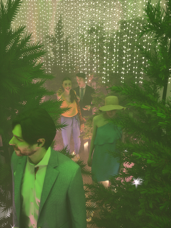 Duane kemp forest hallway scene 19 green t pink b