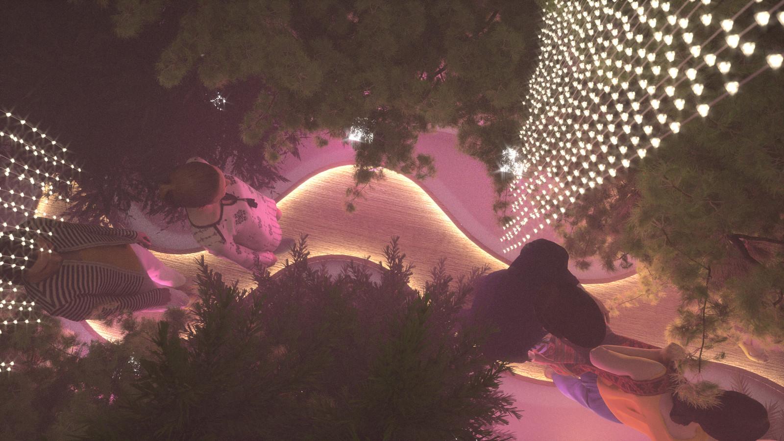 SketchUp 2018 + Thea Render  Forest Hallway-Scene 28 Pink B