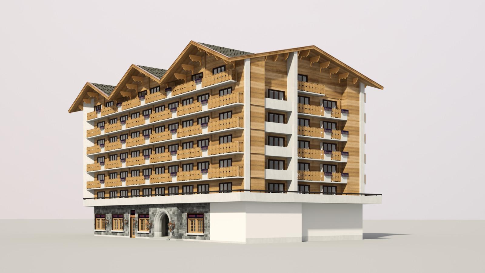 SketchUp 1018 + Thea Render  Alpine hotel PPE-Scene 5