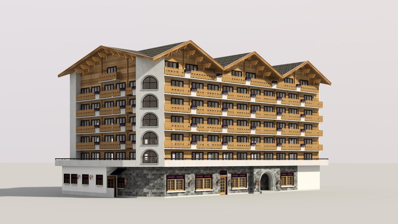 SketchUp 1018 + Thea Render  Alpine hotel PPE-Scene 2