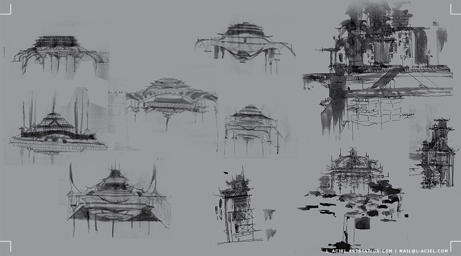 Various castle and city cross section sketches