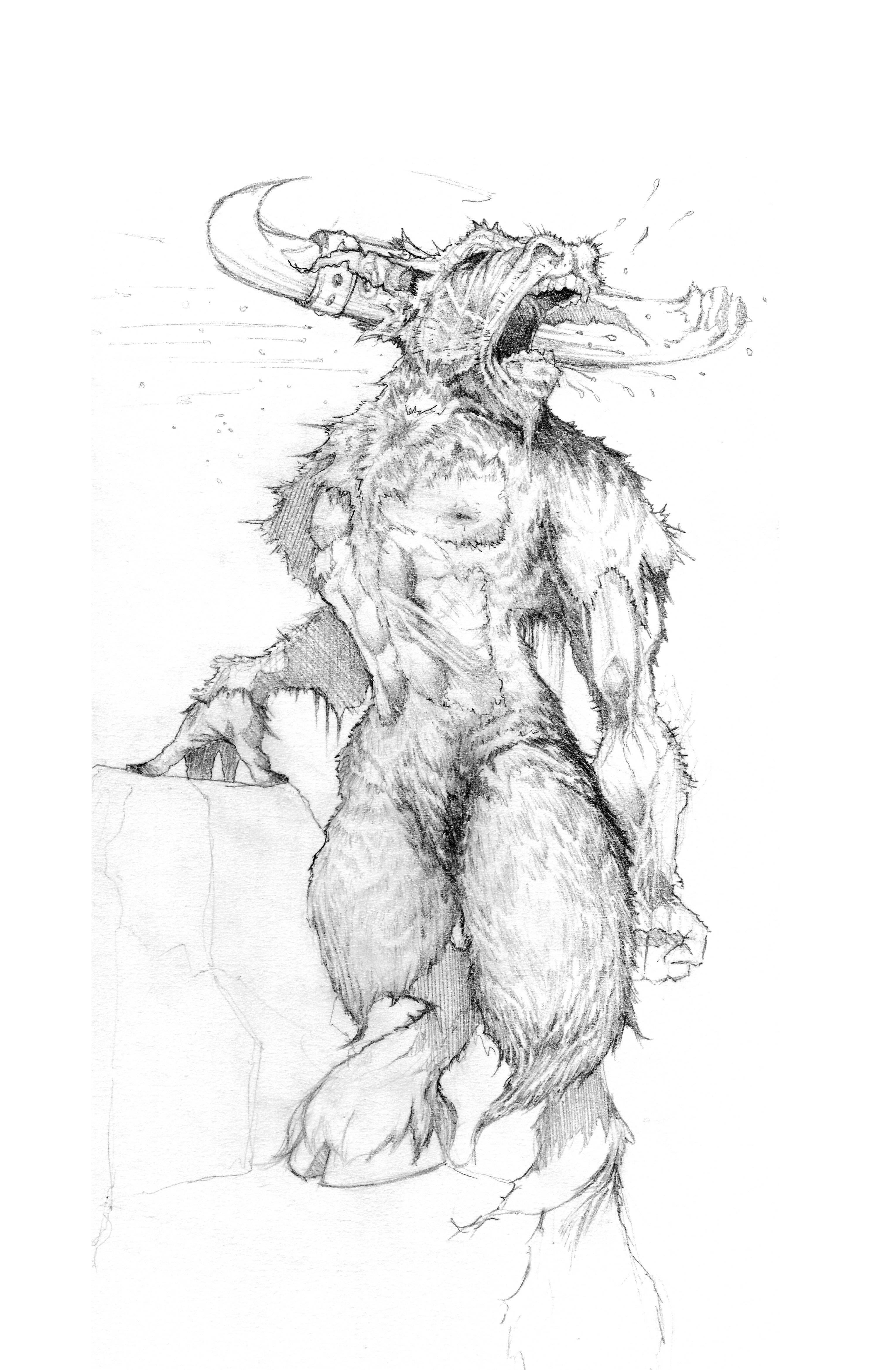 Minotaur pencil Sketch
