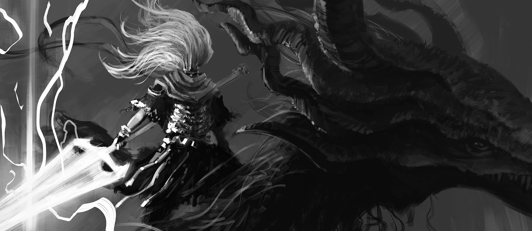 Fan art of Nameless King, from Dark Souls 3.