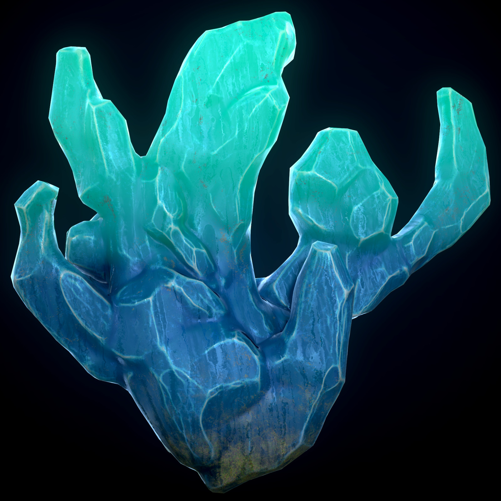 Fantasy blue Crystals PBR game asset
