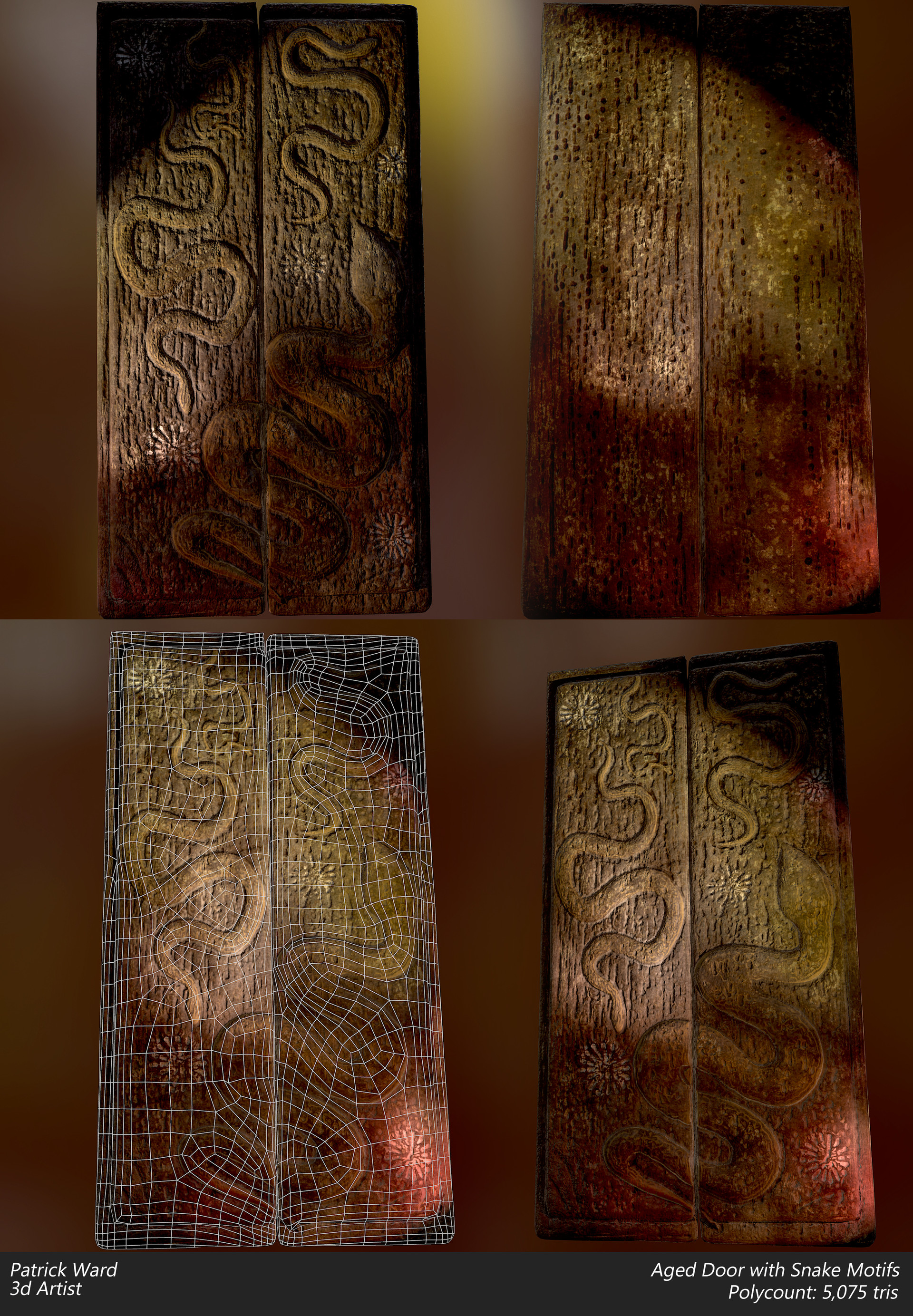 Scroll to see more & ArtStation - Prop: Aged Door with Snake Motifs Patrick Ward