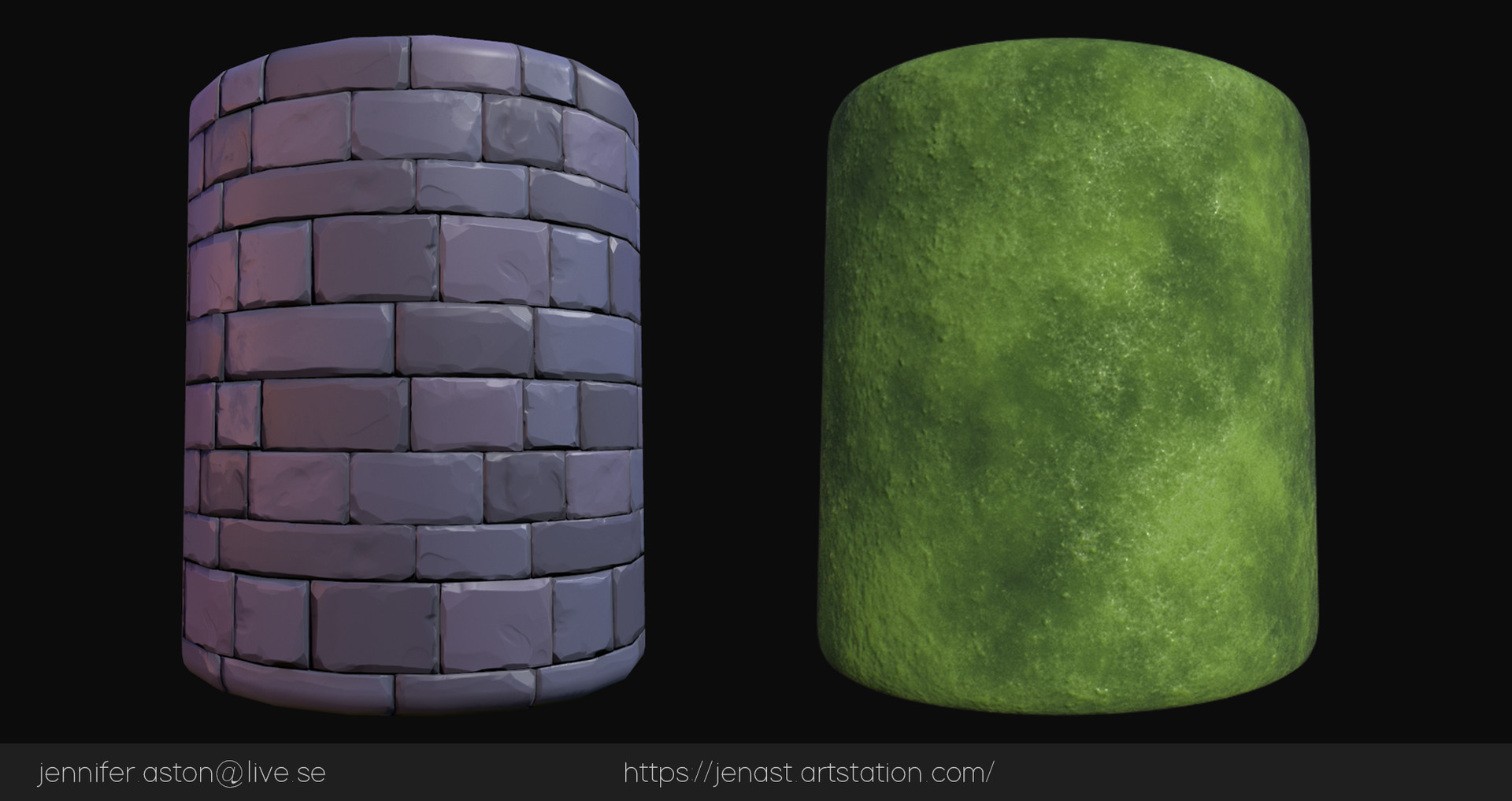 Tiling materials. The stones are sculpted in ZBrush and the Moss/Grass are made in Substance Designer.