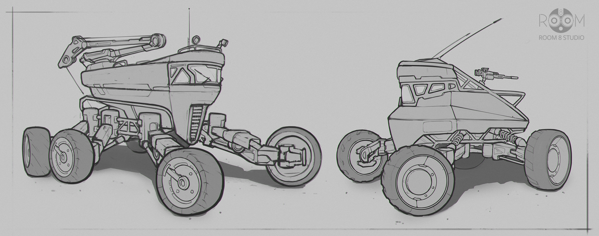 Room 8 studio sci fi vehicle sketches 04 01 2018