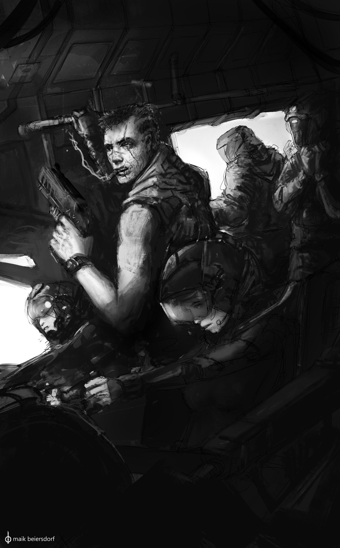 Maik beiersdorf humans faction poster sketch bw