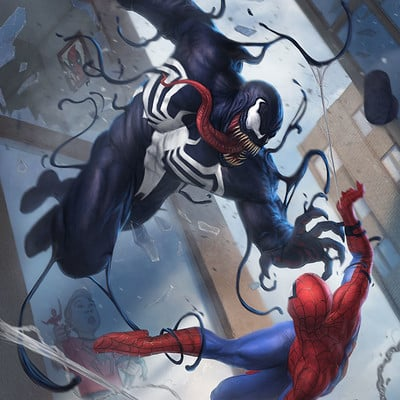 Rafael teruel rafater venom vs spiderman title rafa teruel marvel