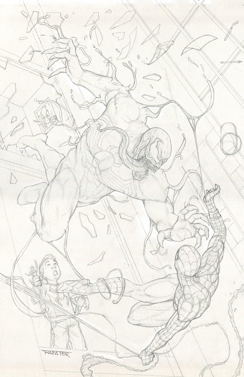 Rafael teruel rafater venom vs spiderman pencil drawing