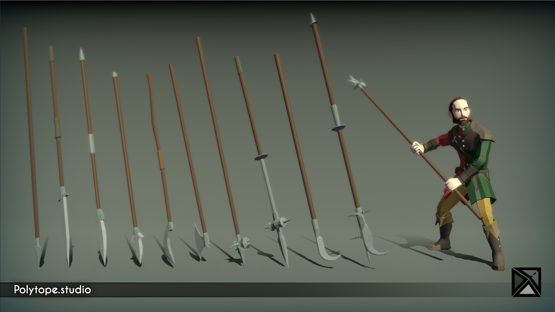 Polytope studio pt medieval lowpoly weapons pike halberd spear