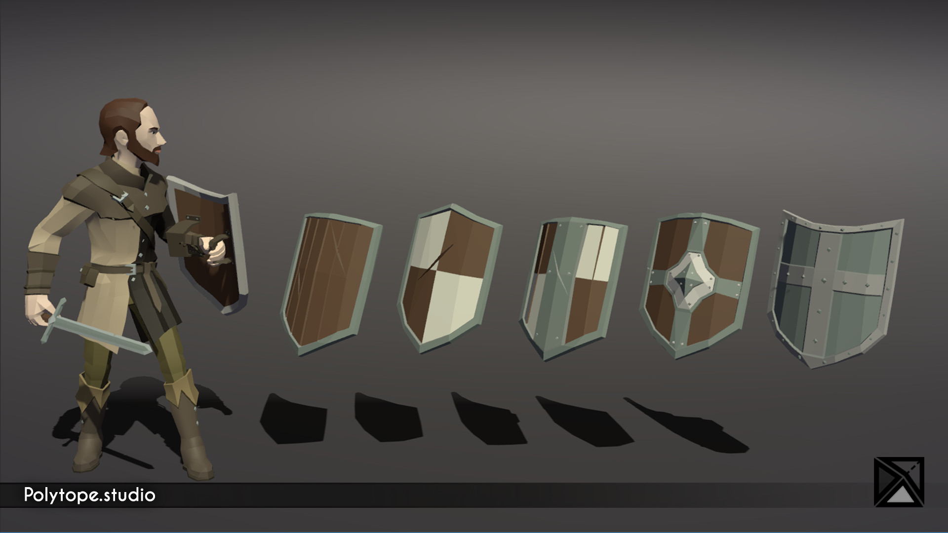 Polytope studio pt medieval lowpoly weapons shield heater