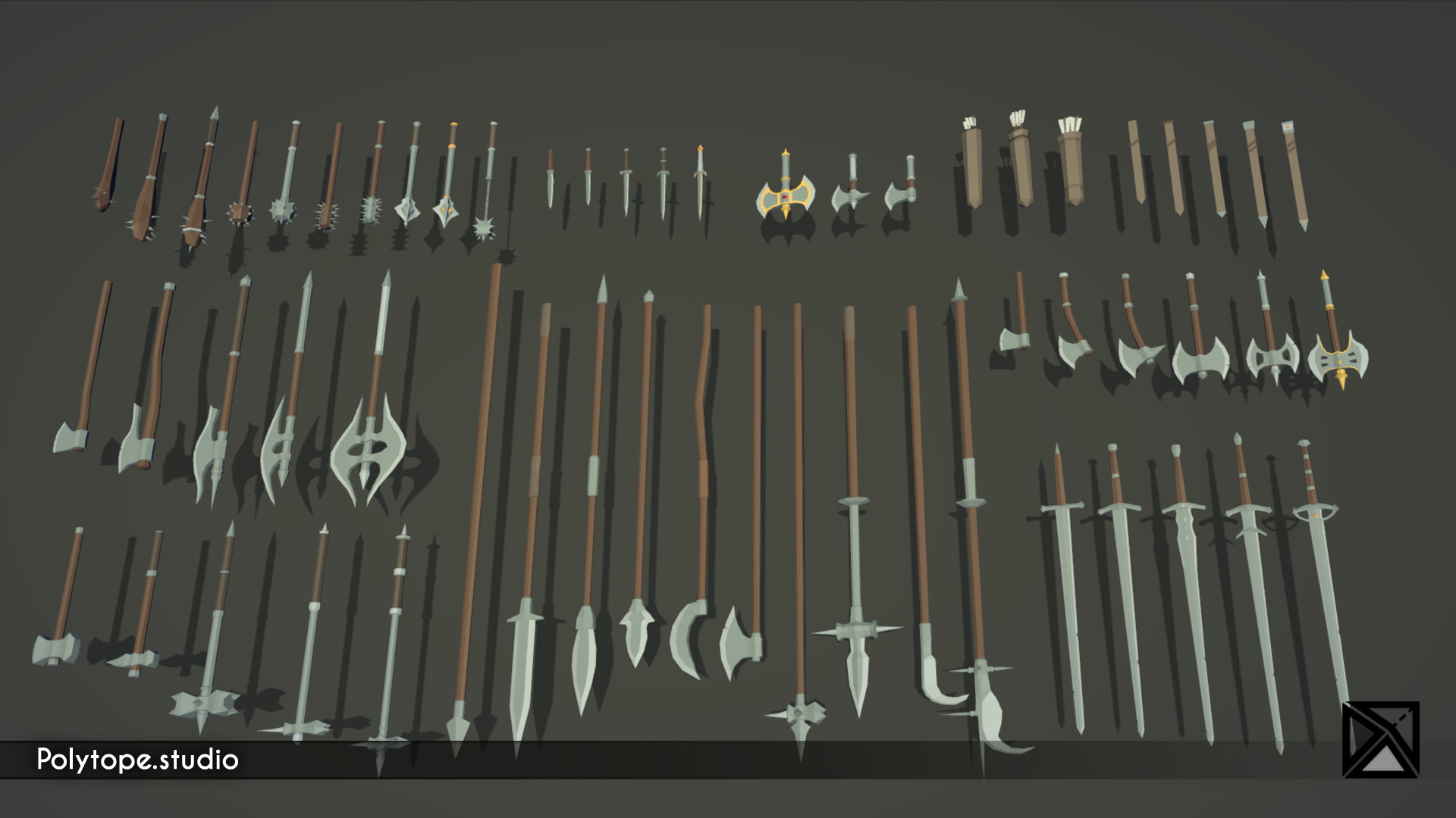 Polytope studio pt medieval lowpoly weapons sword axe halberd mace dagger warhammer quiver pike sheat