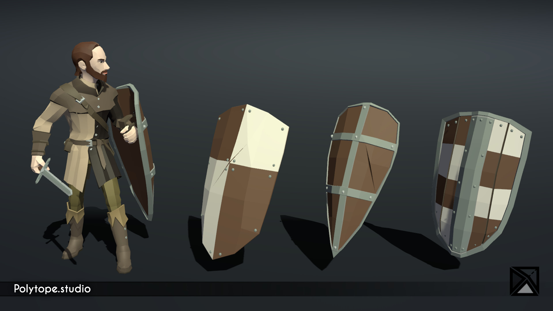 Polytope studio pt medieval lowpoly weapons shield large