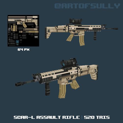 3D Pixel-Art SCAR-L Assault Rifle
