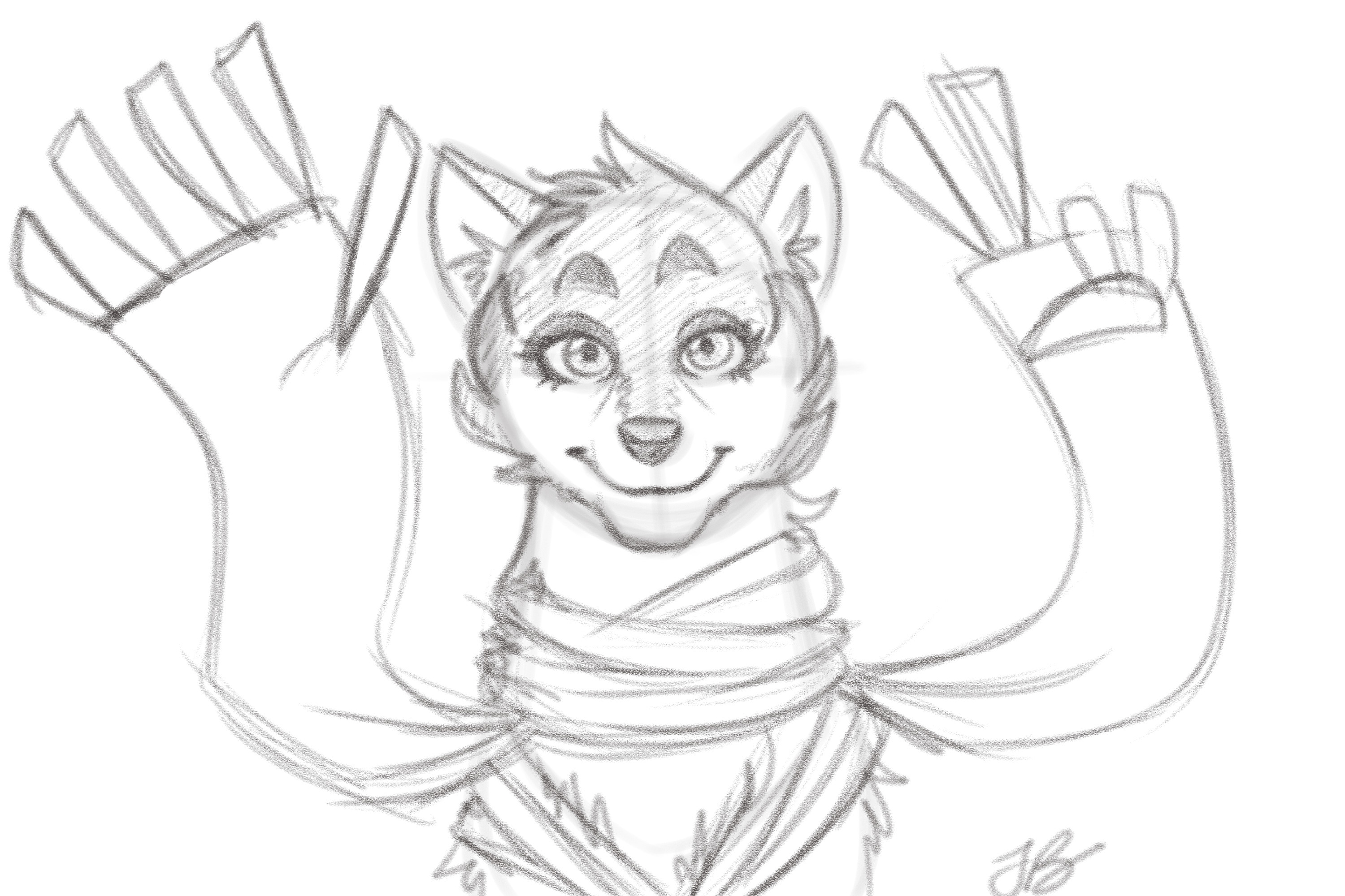 Concept from 2016 that hatched the idea for a wolf character with a sentient scarf. Eiko's main design never strayed far from this concept.