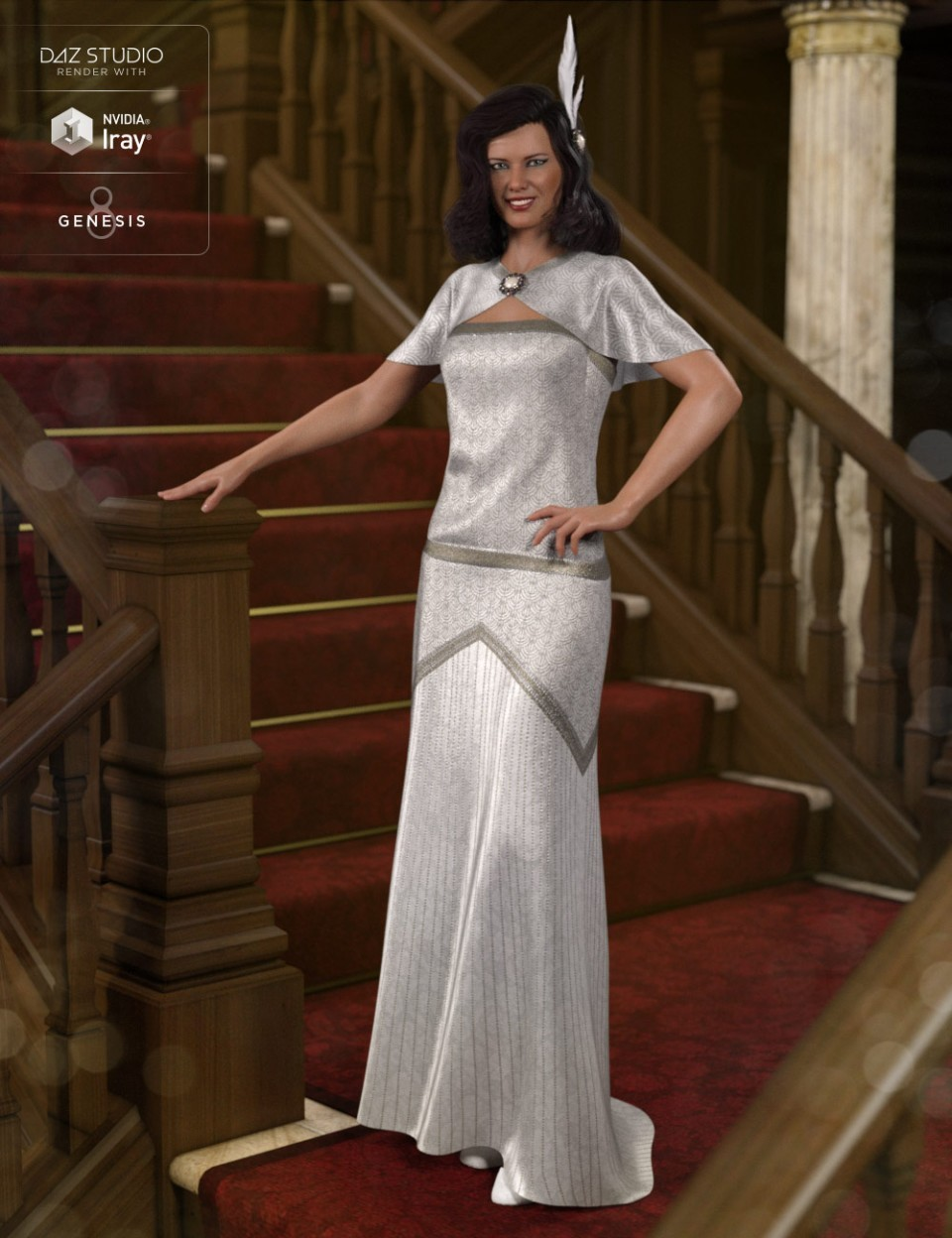 ArtStation - dForce 1920s Evening Gown Outfit for Genesis 8 Female ...